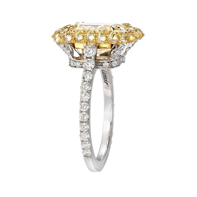Modern Yellow Diamond Ring Radiant Cut 3.78 Carat GIA Fancy Light Yellow Canary Diamond For Sale