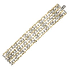 Canary Yellow And White Faux Diamond CZ Sterling Mesh Bracelet.