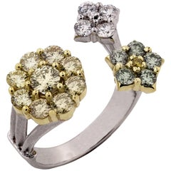 Canary Yellow Diamond Cluster White Gold Ring Stambolian
