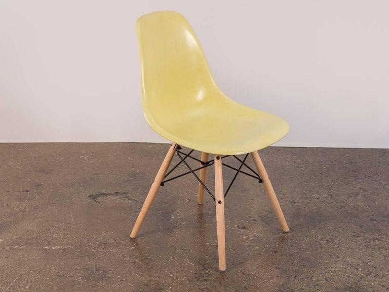 Mid-Century Modern Eames for Herman Miller Lemon Yellow Shell Chair For Sale
