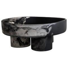 Candela Handmade Black & Clear Resin Pedestal Bowl