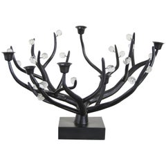 Candelabra, Black Copper and Crystal by Robert Kuo, Hand Repousse, Limited