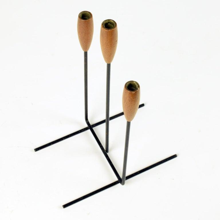 Danish Candelabra Candle Holder, Midcentury, Elegant Metal and Teak Sculptural Piece For Sale