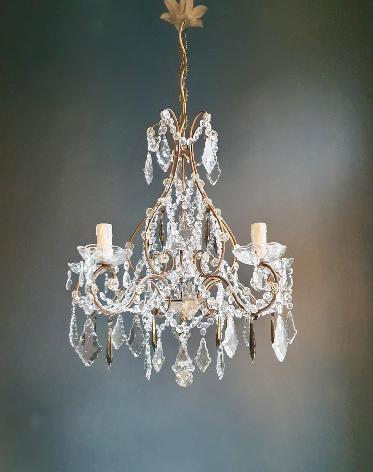 Amber crystal chandelier ceiling Murano Florentiner lustre   Measures: Total height 99 cm, height without chain 65 cm, diameter 60 cm. Weight (approximately): 6 kg.  Number of lights: 5-light bulb sockets: x E14 material: Brass, cut glass,