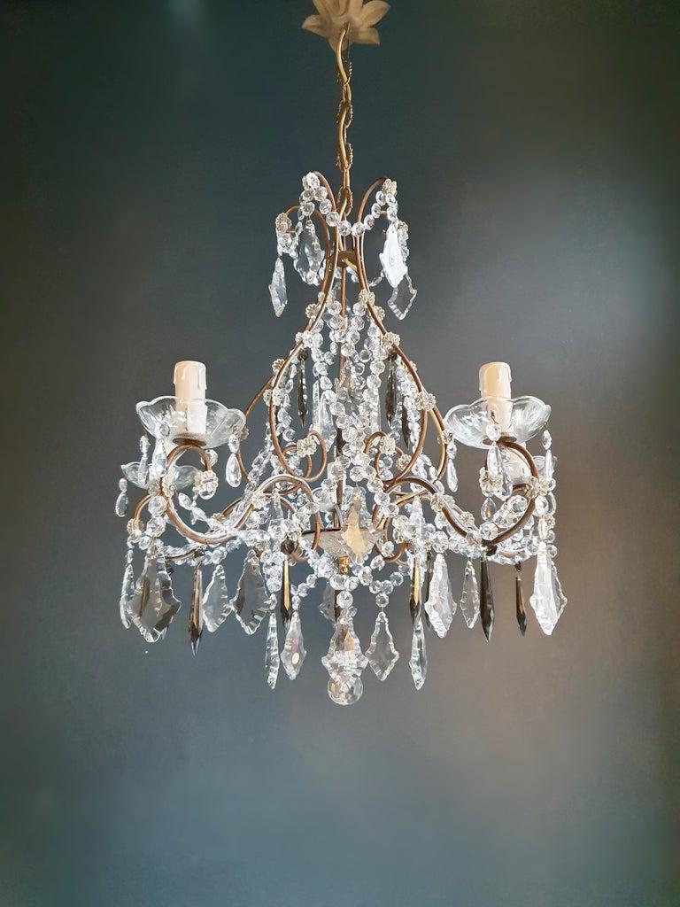 European Candelabrum Black Crystal Antique Chandelier Ceiling Lustre Art Nouveau For Sale