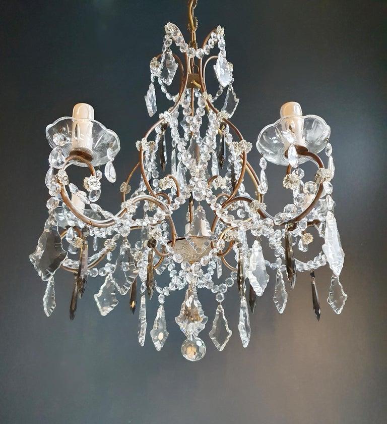 Hand-Crafted Candelabrum Black Crystal Antique Chandelier Ceiling Lustre Art Nouveau For Sale