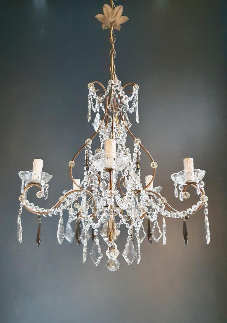 Candelabrum Black Crystal Antique Chandelier Ceiling Lustre Art Nouveau In Good Condition For Sale In Berlin, DE