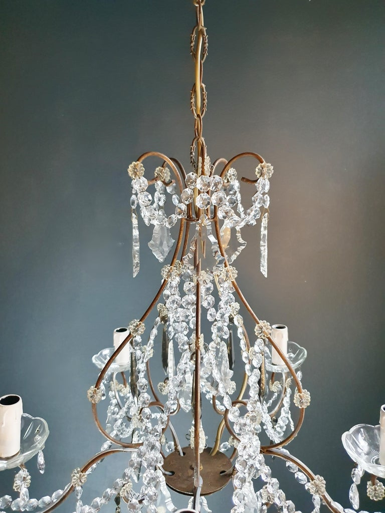Early 20th Century Candelabrum Black Crystal Antique Chandelier Ceiling Lustre Art Nouveau For Sale