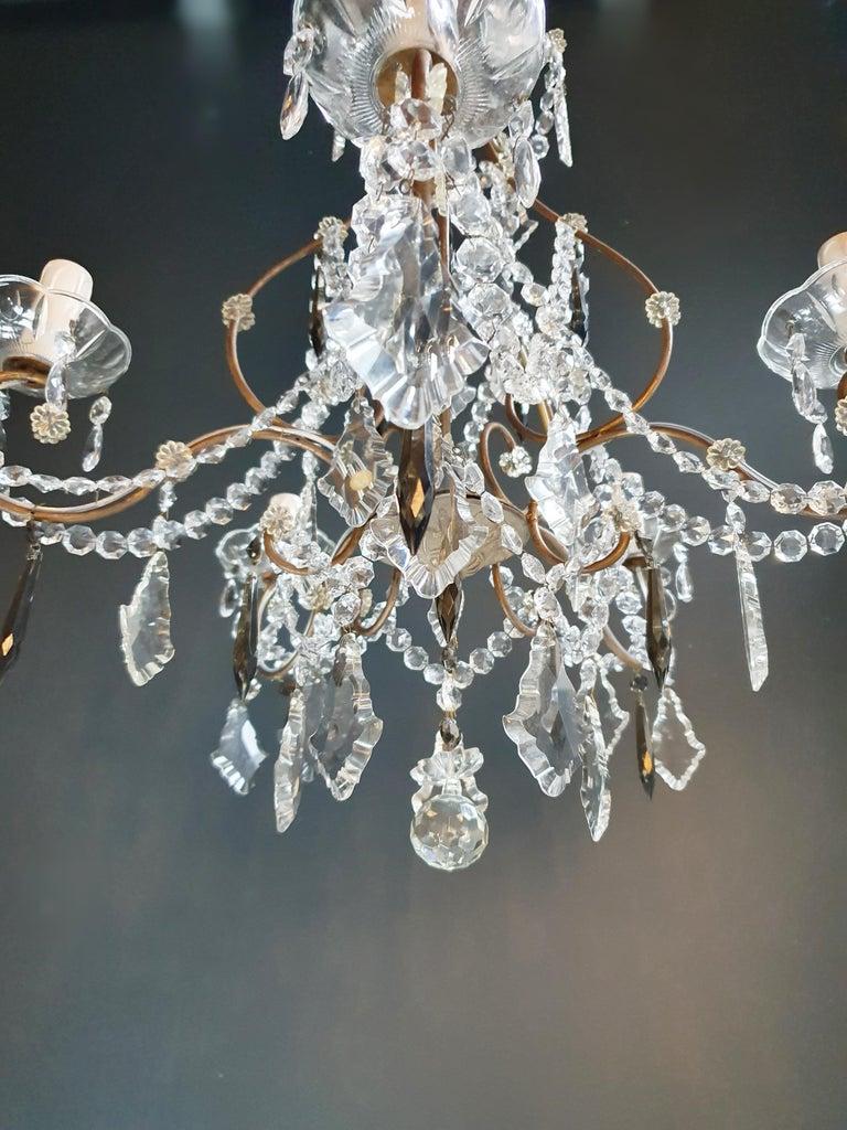 Brass Candelabrum Black Crystal Antique Chandelier Ceiling Lustre Art Nouveau For Sale