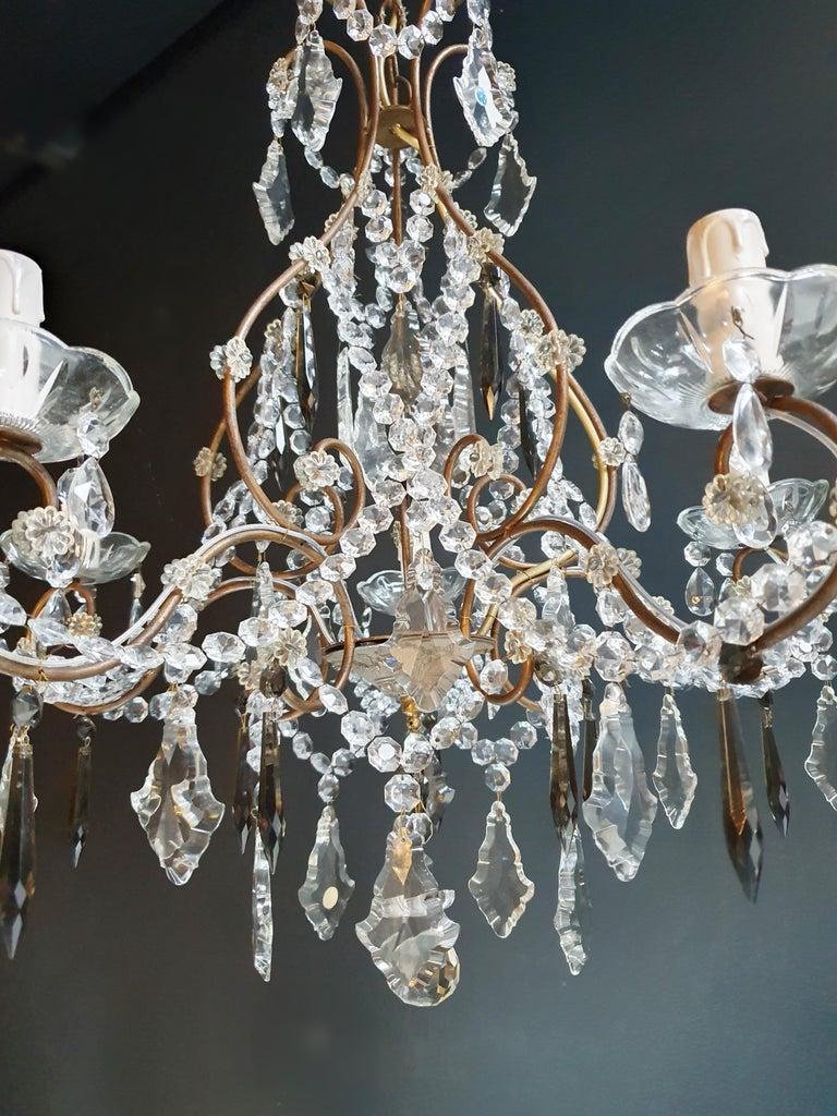 Candelabrum Black Crystal Antique Chandelier Ceiling Lustre Art Nouveau For Sale 1