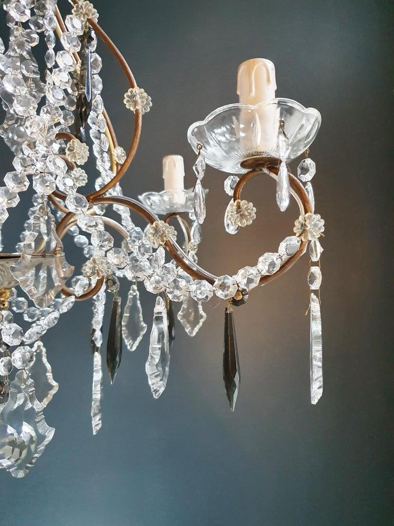 Candelabrum Black Crystal Antique Chandelier Ceiling Lustre Art Nouveau For Sale 2