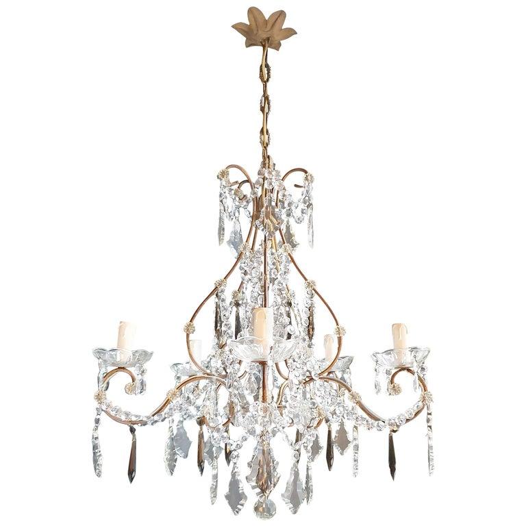 Candelabrum Black Crystal Antique Chandelier Ceiling Lustre Art Nouveau For Sale