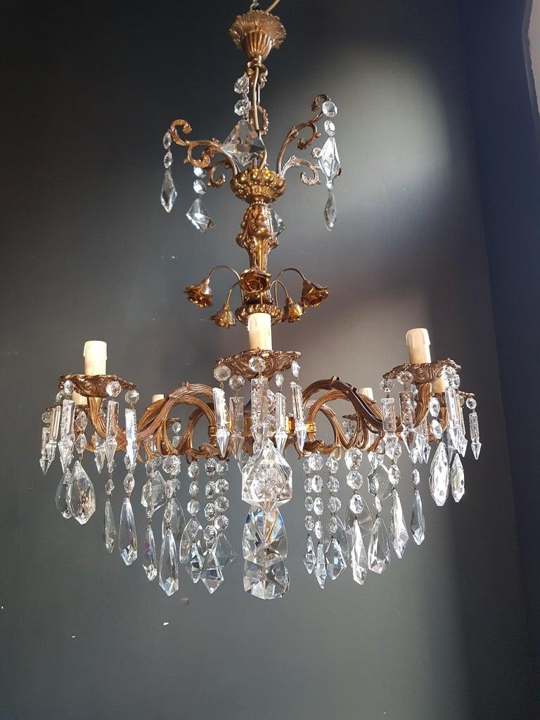 Baroque Candelabrum Chandelier Crystal Brass Lustre Ceiling Lamp
