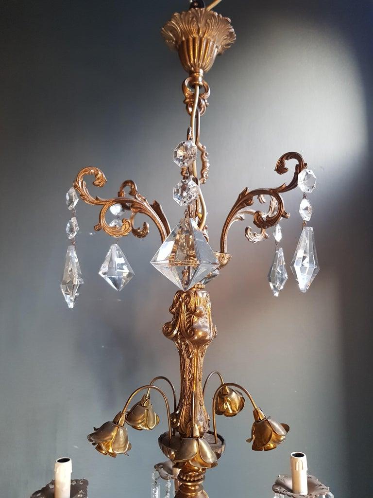 Candelabrum Chandelier Crystal Brass Lustre Ceiling Lamp  In Good Condition In Berlin, DE