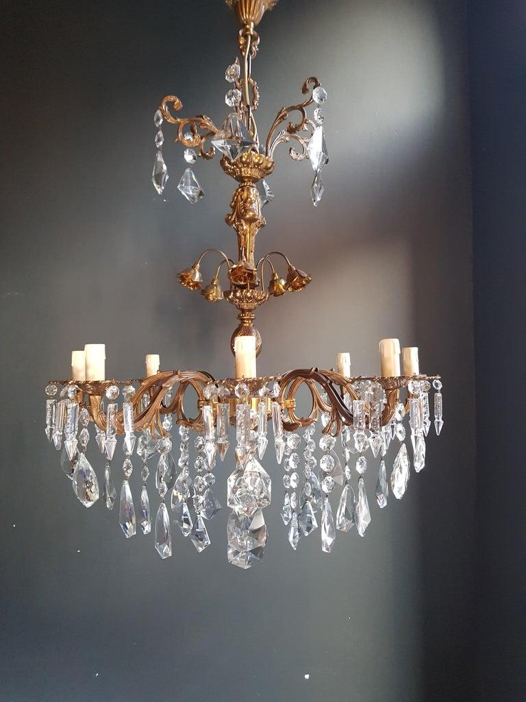 Mid-20th Century Candelabrum Chandelier Crystal Brass Lustre Ceiling Lamp