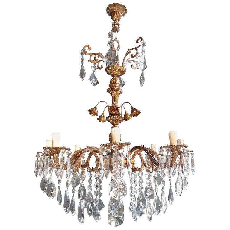 Candelabrum Chandelier Crystal Brass Lustre Ceiling Lamp