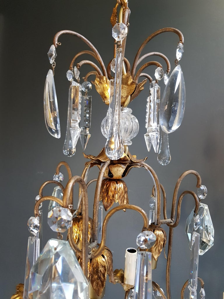 Hand-Knotted Candelabrum Chandelier Crystal Ceiling Lamp Antique Art Nouveau Pendant Lighting For Sale