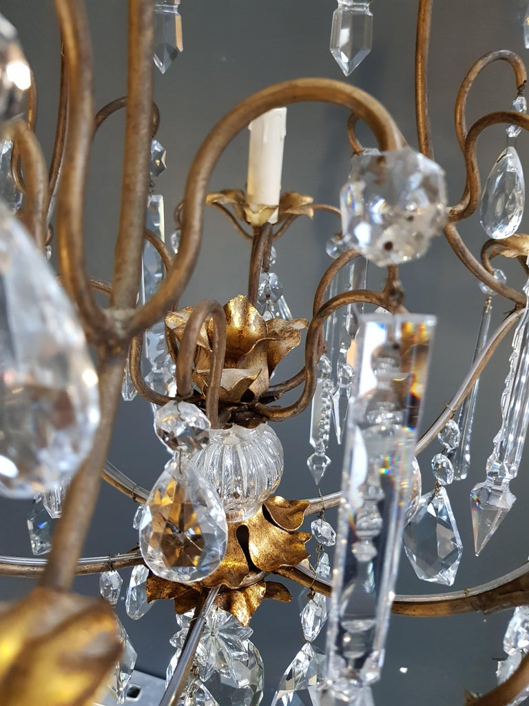 Candelabrum Chandelier Crystal Ceiling Lamp Antique Art Nouveau Pendant Lighting In Good Condition For Sale In Berlin, DE