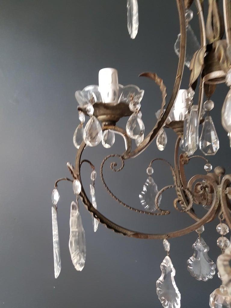 Rustic Candelabrum Chandelier Crystal Lustre Ceiling Lamp Hall Antique Art Nouveau For Sale