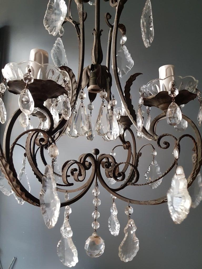 European Candelabrum Chandelier Crystal Lustre Ceiling Lamp Hall Antique Art Nouveau For Sale