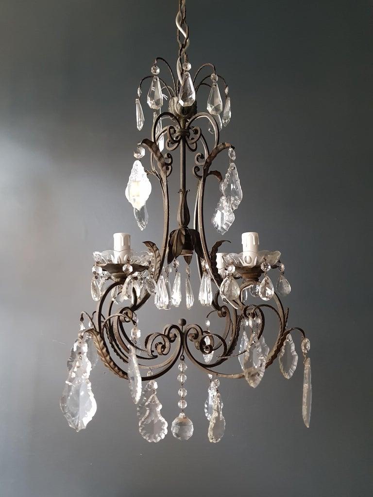 Hand-Knotted Candelabrum Chandelier Crystal Lustre Ceiling Lamp Hall Antique Art Nouveau For Sale