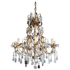Candelabrum Purple Crystal Antique Chandelier Ceiling Lustre Art Nouveau