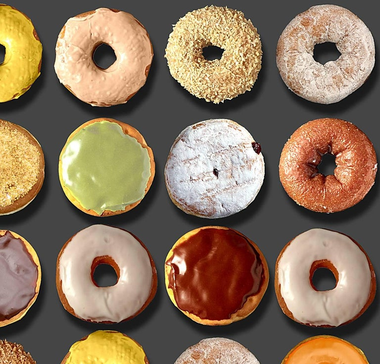 You have read about the extraordinary donut portraits by Candice CMC on social media world-wide and we are excited and proud to represent her work.   This one of a kind photo arrangement on 100% rag paper by Candice CMC image size measures 51.5 x