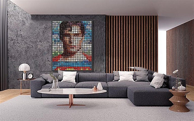 You have read about the extraordinary donut portraits by Candice CMC on social media world-wide and we are excited and proud to represent her work and to offer this new large work on canvas