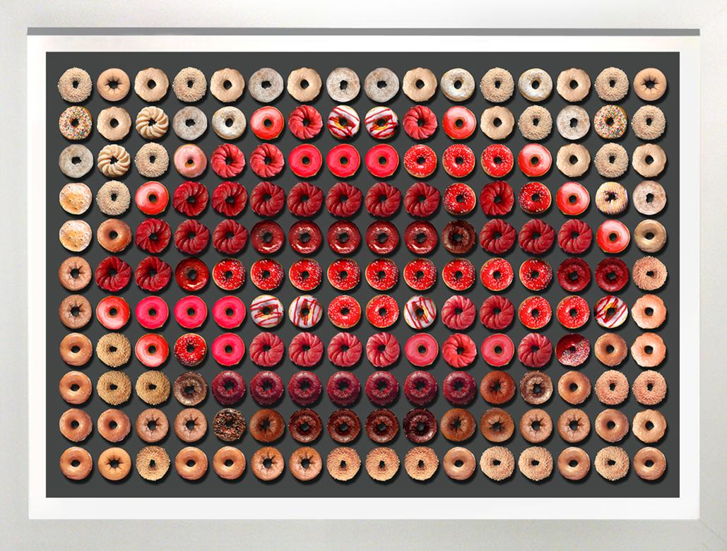 """""""Small Donut Kiss"""" 30x40 framed Photographic arrangement of Donuts"""
