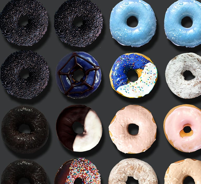 You have read about the extraordinary donut portraits by Candice CMC on social media world-wide and we are excited and proud to represent her work.  I have included in this listing an image from some of the world-wide Social Media Buzz on Candice