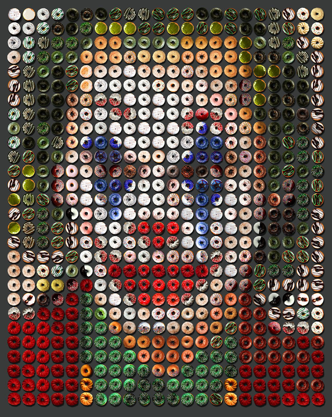 """""""Large Joker Donuts"""" 60x48, One of a kind Photo arrangement of Donuts, rag paper"""