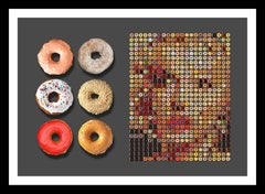 """Marilyn with Half Dozen Donuts"" Pop Photographic portrait arrangement of donuts"