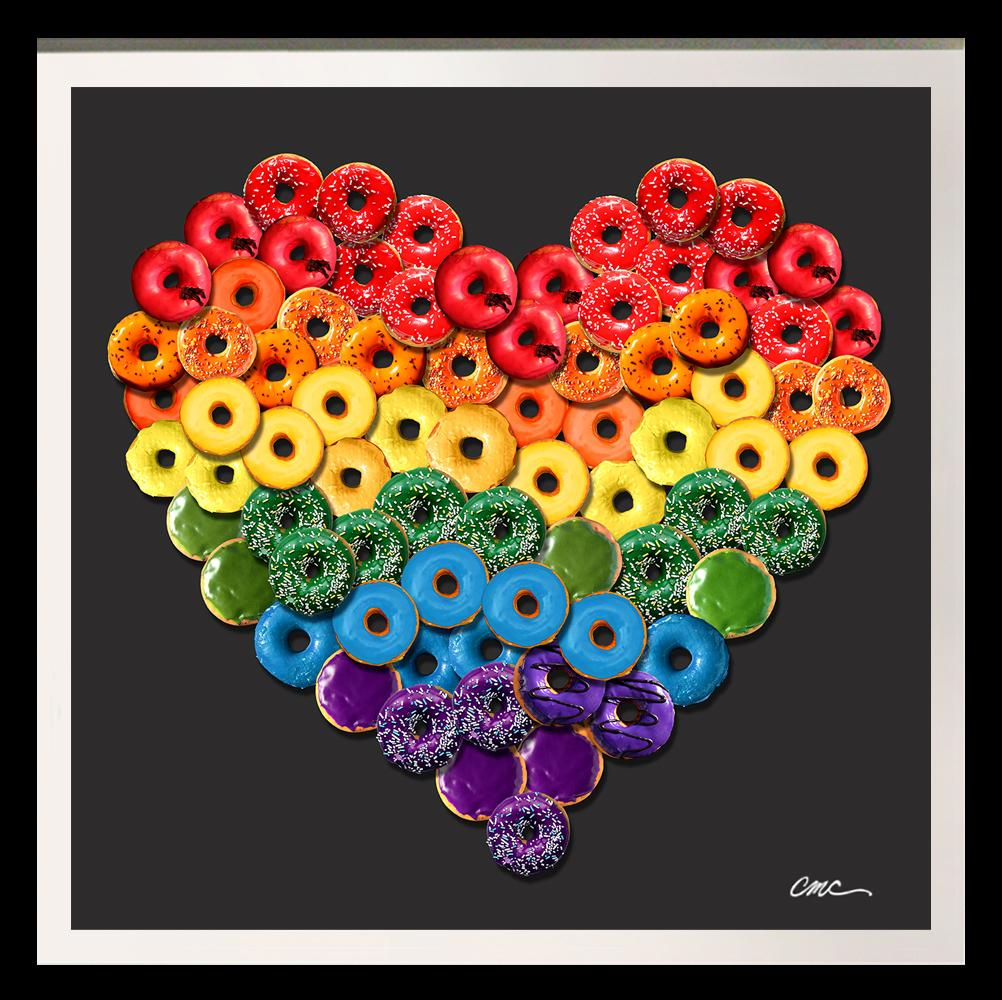 """""""Rainbow Donuts"""" limited edition Photographic arrangement of Donuts on rag paper"""