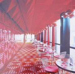 Spiegelkantine, Hamburg III - C Print, Contemporary, Architecture, Interior, Red