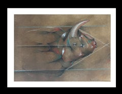 Sueño original magical Surrealism mixed media paper painting