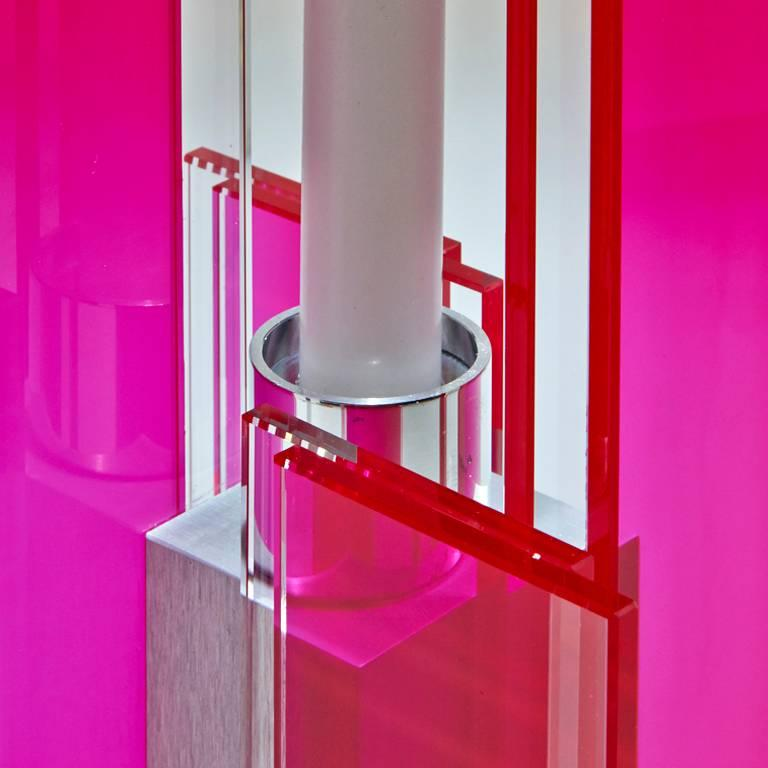Contemporary Pink & Blue Glass & Aluminum Candlestick For Sale 5