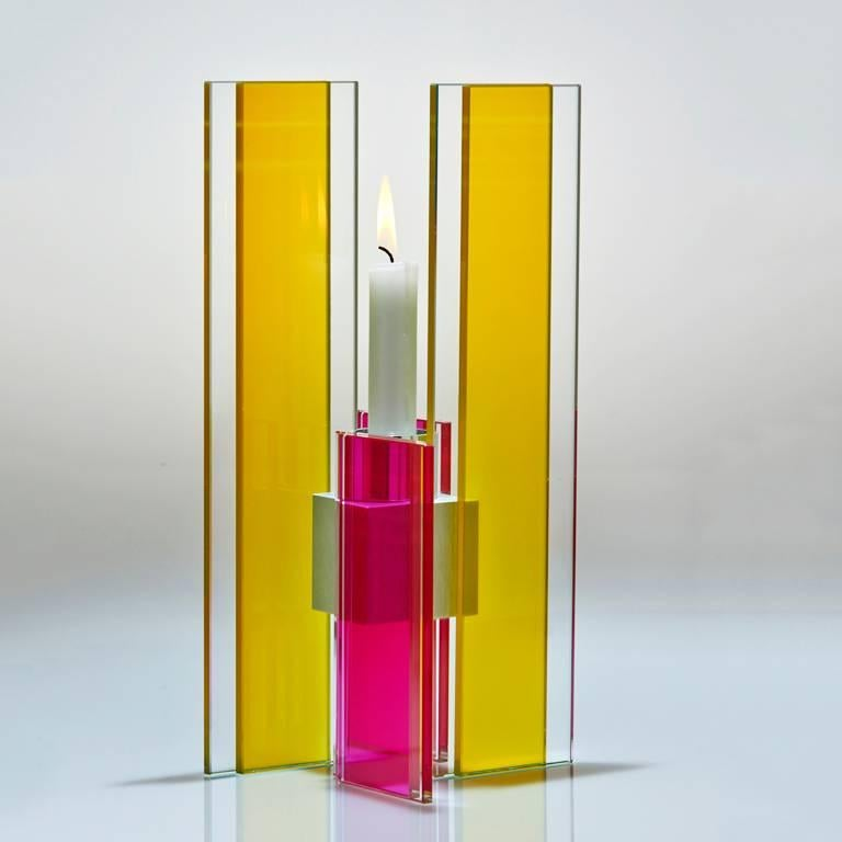 Contemporary Pink & Blue Glass & Aluminum Candlestick For Sale 10