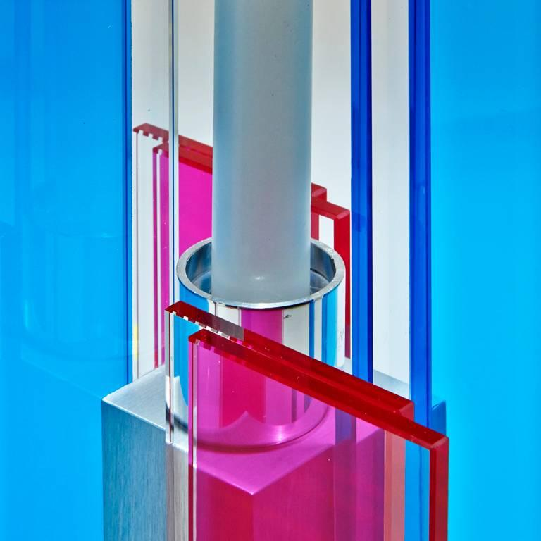 Contemporary Pink & Blue Glass & Aluminum Candlestick For Sale 1