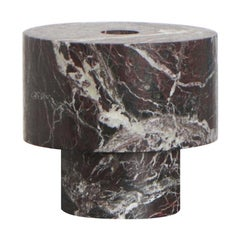 Candleholder in Red Marble, by Karen Chekerdjian, Made in Italy