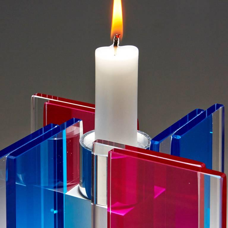 Modern In Stock Candleholder Majestic Design Tabletop Glass Aluminum Blue & Red For Sale