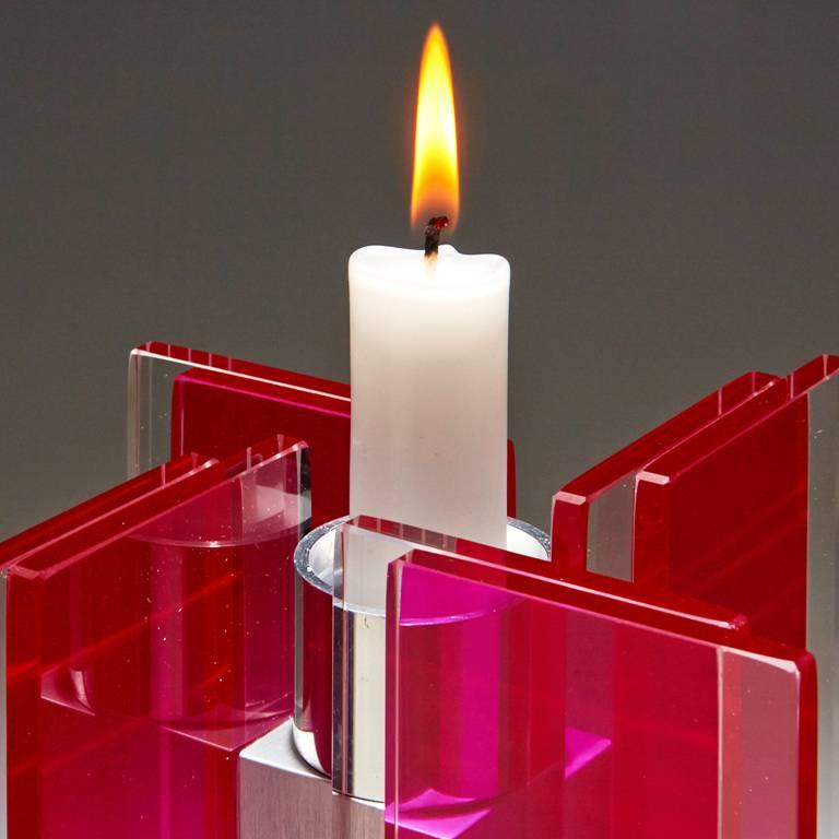 Modern Candleholder Majestic Design Tabletop Glass Aluminium Contemporary Red For Sale