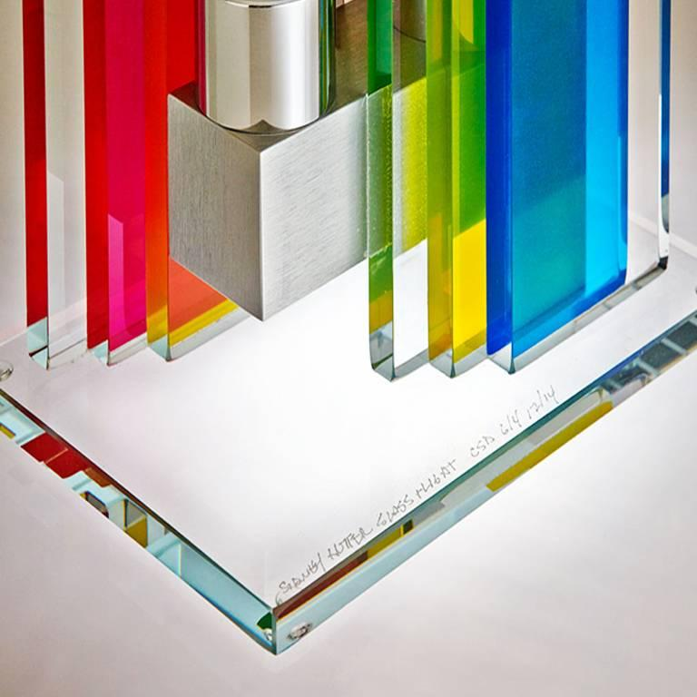 Modern In Stock Candleholder Unified Light Tabletop Glass Aluminum Rainbow For Sale
