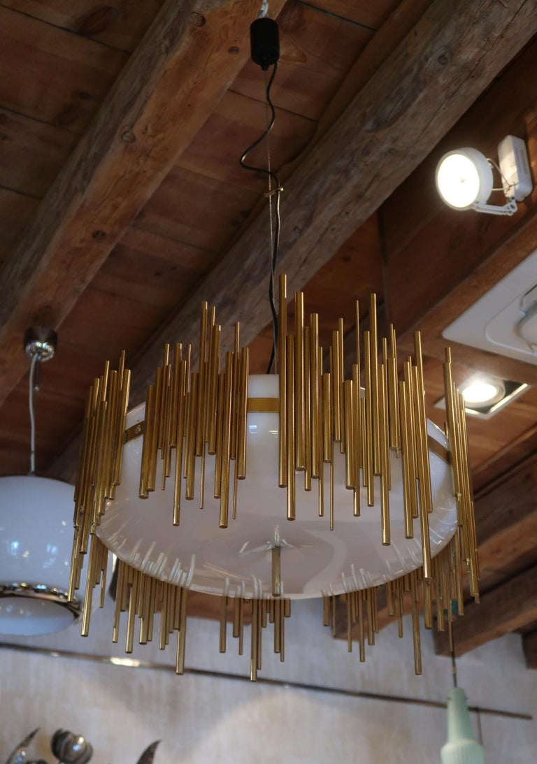 Candle, Perspex and Gilded Brass Midcentury Italian Ceiling Lamp 1970. Good condition.