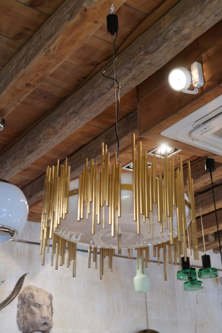 Mid-Century Modern Candle, Perspex and Gilded Brass Midcentury Italian Ceiling Lamp 1970 For Sale