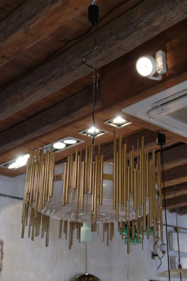 Late 20th Century Candle, Perspex and Gilded Brass Midcentury Italian Ceiling Lamp 1970 For Sale