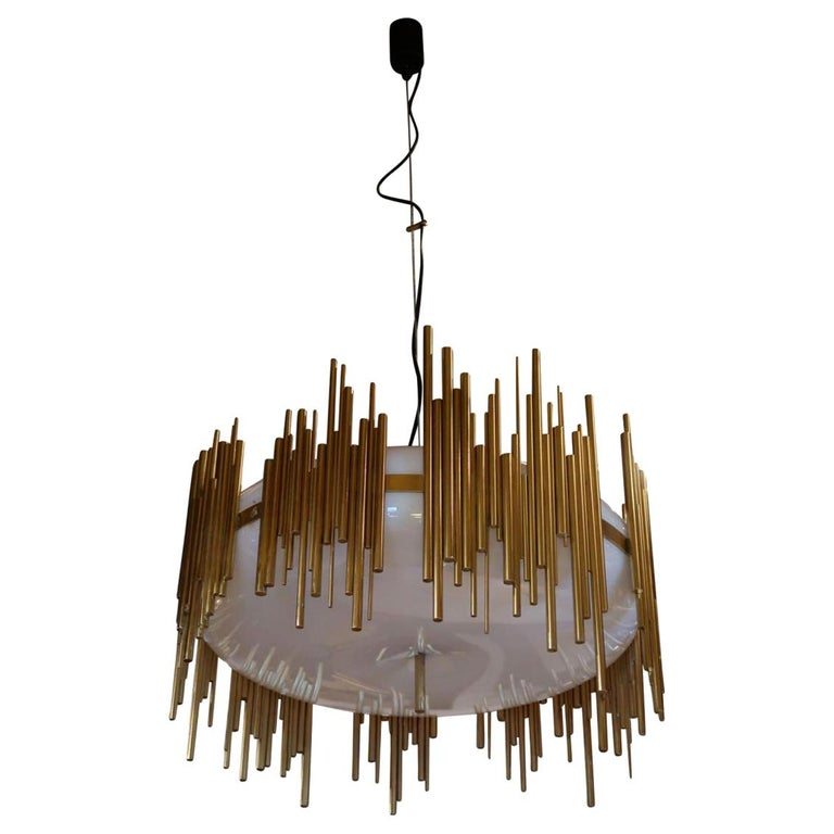Candle, Perspex and Gilded Brass Midcentury Italian Ceiling Lamp 1970 For Sale