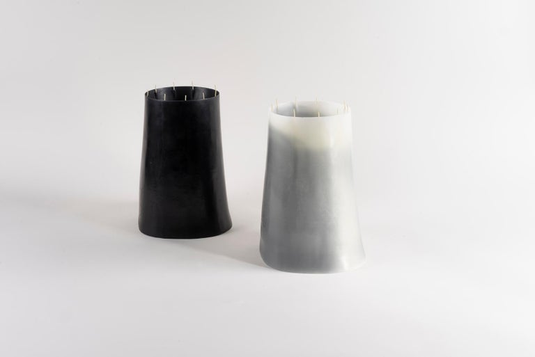 Candle Pit, Black Beeswax Candle with Oak Tray by UMÉ Studio For Sale 6