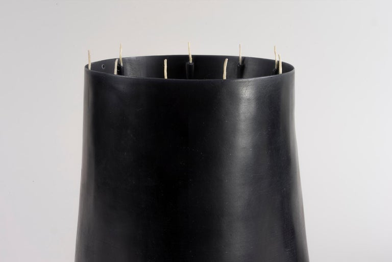 Candle Pit, Black Beeswax Candle with Oak Tray by UMÉ Studio For Sale 7