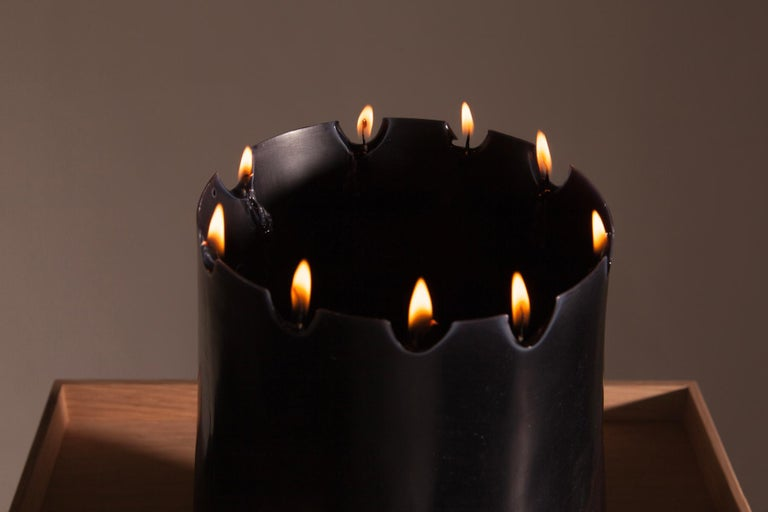 Candle Pit, Black Beeswax Candle with Oak Tray by UMÉ Studio For Sale 1