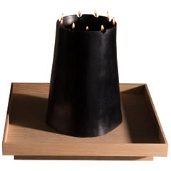 Candle Pit, Black Beeswax Candle with Oak Tray by UMÉ Studio